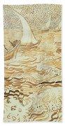 Fishing Boats At Saintes Maries De La Mer Beach Towel by Vincent van Gogh