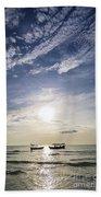 fishing boats at sunset in koh rong Cambodia Beach Towel