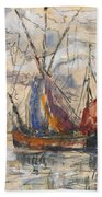 Fishing Boats In La Rochelle Beach Towel by Paul Signac