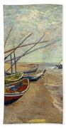 Fishing Boats On The Beach At Les Sainte-maries-de-la-mer Beach Towel