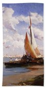 Fishing Craft With The Rivere Degli Schiavoni Venice Beach Towel