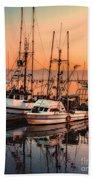 Fishing Fleet Sunset Boat Reflection At Fishermans Wharf Morro Bay California Beach Towel