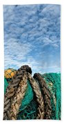 Fishing Nets And Alto-cumulus Clouds Beach Towel