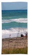 Fishing On The Beach Beach Towel