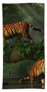 Fishing Tigers Beach Towel