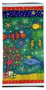 Fishy Christmas, 1997 Wc And Pastel On Paper Beach Towel