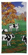 Five Black And White Cows Beach Towel