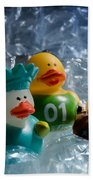 Five Ducks In A Row Beach Towel by Donna Lee