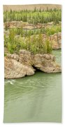 Five Finger Rapids Rocks Yukon River Yt Canada Beach Towel