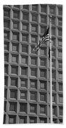 Flag And Windows In Black And White Beach Towel
