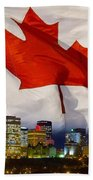 Flag Of Canada Over Albertas Capital Beach Towel