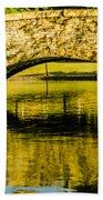 flagstone walking bridge at Freedom Park in Charlotte North Car Beach Towel