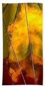 Flames Heating Up Hot Air Balloon Beach Towel