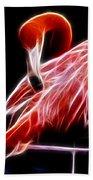 Flamingo Portrait Fractal Beach Towel