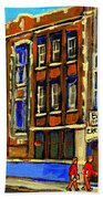 Flashback To Sixties Montreal Memories Baron Byng High School Vintage Landmark St. Urbain City Scene Beach Towel by Carole Spandau