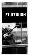 Blues Guitarist Heading To Flatbush  Beach Towel