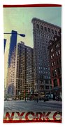 Flat Iron Building Poster Beach Towel by Nishanth Gopinathan