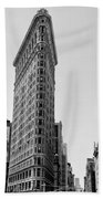Flat Iron In Black And White Beach Towel by Bill Cannon