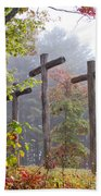 Flax Creek In The Fog Beach Towel by Debra and Dave Vanderlaan