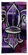 Fleur De Lis Purple Abstract Beach Towel