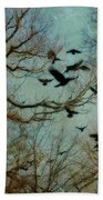 Flight Of The Forest Crows Beach Towel