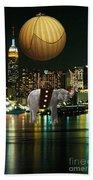 Flight Over The New York Skyline On A Hot Air Balloon Beach Towel by Marvin Blaine