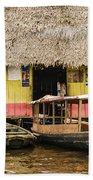 Floating Bar In Shanty Town Beach Towel