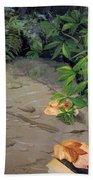 Floating Leaves By George Wood Beach Towel