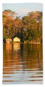 Flooded Amazon With Houses Beach Towel