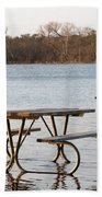 Flooded Park Bench Lunch Beach Towel