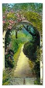 Floral Arch And Path Beach Towel