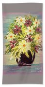 Floral Delight Acrylic Painting Beach Towel
