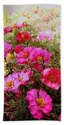 Floral Portulaca Garden Beach Towel