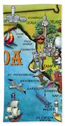Florida Cartoon Map Beach Towel