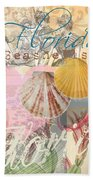 Florida Seashells Collage Beach Towel