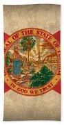 Florida State Flag Art On Worn Canvas Beach Towel