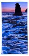 Flow - Dramatic Sunset View Of A Sea Stack In Davenport Beach Santa Cruz. Beach Towel