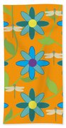 Flower And Dragonfly Design With Orange Background Beach Towel