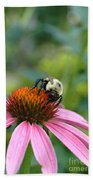 Flower Bumble Bee Beach Towel