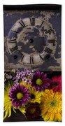 Flower Clock Beach Towel