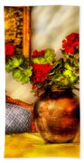 Flower - Geraniums On A Table  Beach Towel by Mike Savad