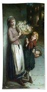 Flower Girls A Summer Night Beach Towel by Augustus Edwin Mulready