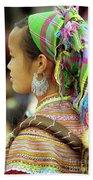 Flower Hmong Woman Beach Towel