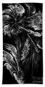 Flower In Black-and-white Beach Towel