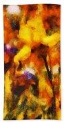 Flower - Iris - Orchestra Beach Towel by Mike Savad