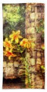 Flower - Lily - Yellow Lily  Beach Towel by Mike Savad