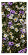 Flower Mix - Purple And White Beach Towel