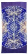 Flower Of Life Blue Beach Towel