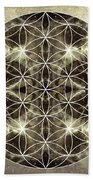 Flower Of Life Silver Beach Towel