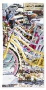 Flower On A Bicycle 2 Beach Towel